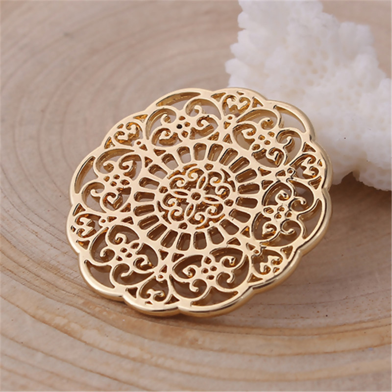 DoreenBeads Zinc Based Alloy Connectors Flower Gold Plated Filigree Charms DIY Components 31mm(1 2/8
