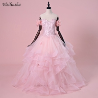 6c8b292b808 Weilinsha Pink Princess Quinceanera Dresses Ball Gown Appliques Ruffles Off  Shoulder Birthday Party Gowns Sweet 16
