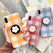Korea Cute Holder Stand Phone Case For iPhone Xr XS Max X Fashion Simple Plaid Shell 6 7 8 6S Plus Soft Cover Coque