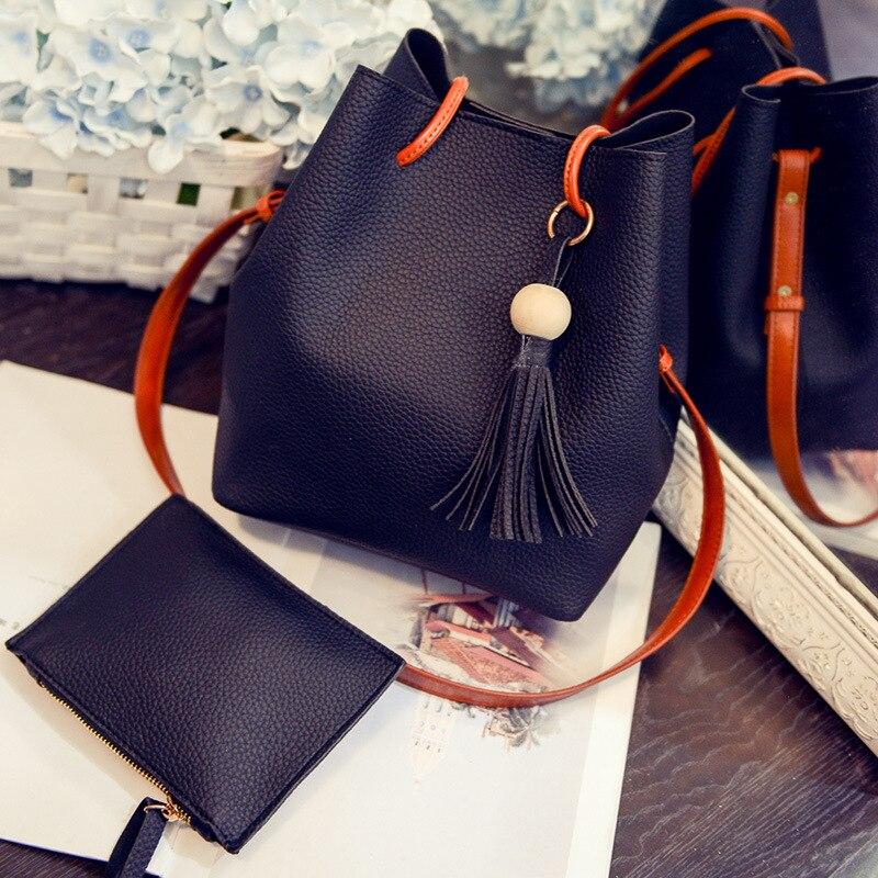 2017 여자 귀여운 양동이 가죽 어깨 슬링 가방 여성 Drawstring 핸드백에 대 한 복합 숙 녀 소형 크로스 바디 버킷 가방