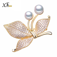 XF800 Real Pearl Jewelry Charm Top Quality Natural Freshwater Pearl Brooch Cherry Design Women Pins Wedding Party Gift B12