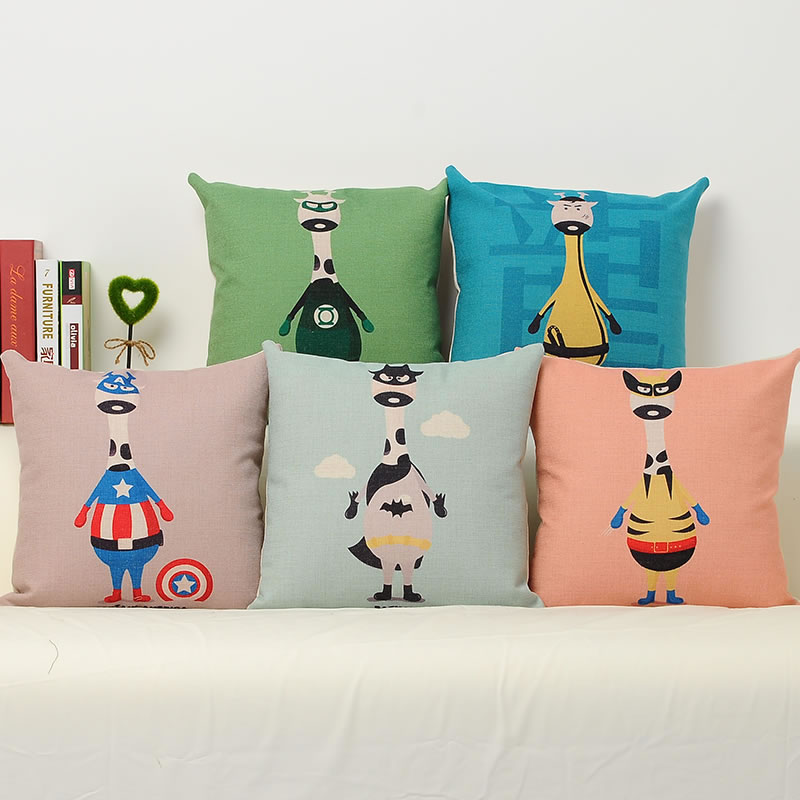 2016 Creative America Cartoon Character Linen Pillowcase Luxury Sofa Cusions Decorative Pillow Home Decor Throw Pillow 45*45