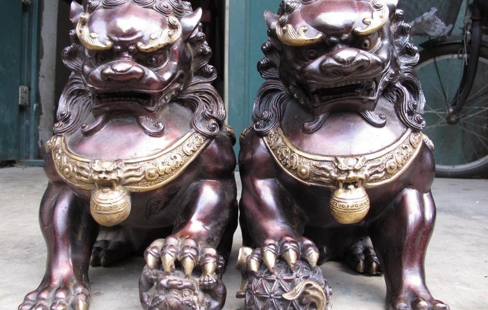 Big Chinese Red Bronze Copper Evil talisman Fu Foo Dogs Door Lion Pair Statue