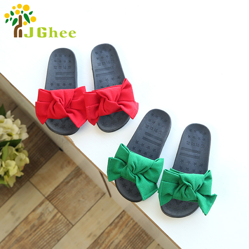 12b5652c3 J Ghee 2018 New Hot Sale Girls Summer Shoes Kids Sandals Children s Slippers  Slides Cloth Big Bow knot Bowtie Princess Shoes-in Sandals from Mother    Kids ...