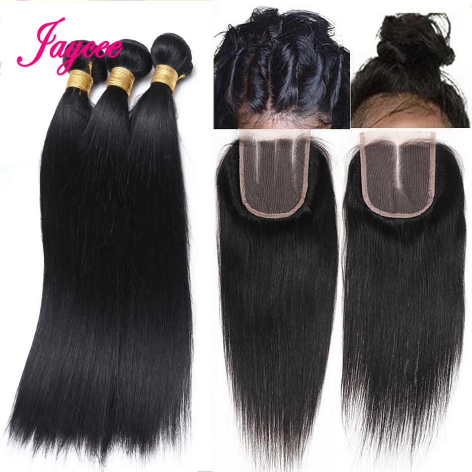 Jaycee Human Hair Bundles With Closure Brazilian Straight Hair Extensions Middle Part 3 Bundles with Closure Non Remy Hair Weave