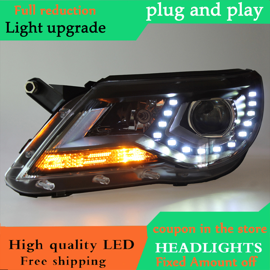 Car Styling for VW Tiguan Headlights 2009 2013 Tiguan LED Headlight DRL Bi Xenon Lens High