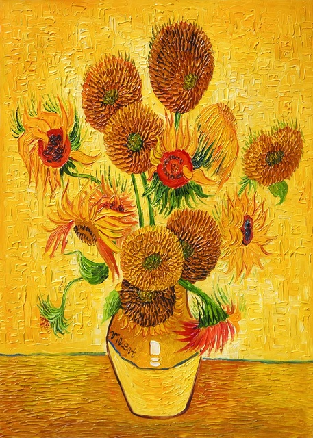 HD Vincent Van Gogh Canvas Prints Oil Painting Vase With Fifteen Sunflowers  Wall Art Home Decor