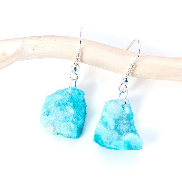 Handmade Healing Aqua Light Blue Druzy Quartz Crystal Platinum Earrings USA