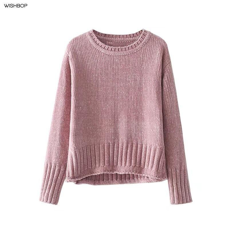 Mujer moda Otoño 2016 ZA nuevo brillante chenille recortado suéter manga  larga jerseys cortos tejido dobladillo punto en Pullovers de La ropa de las  mujeres ... f8fb1e3bf7a9