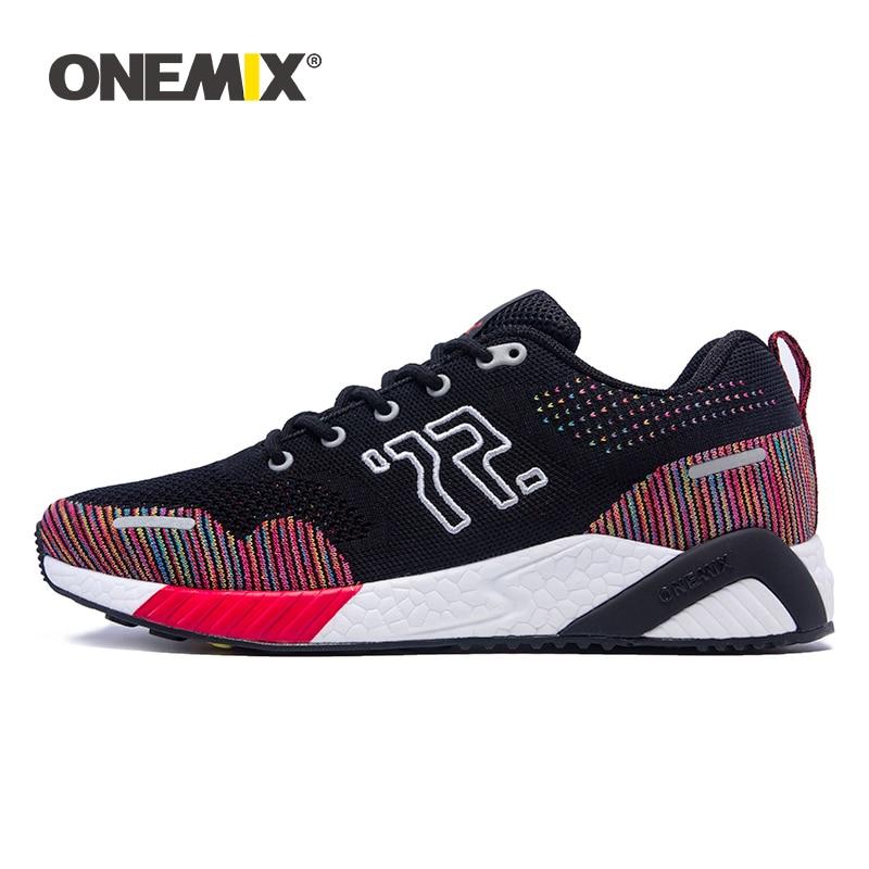 ONEMIX damskie płaskie buty do tenisa 2019 nowy dzianiny  oddychające trampki  biegania obuwie męskie sportowe buty na co dzień w Damskie buty typu flats od Buty na  Grupa 1