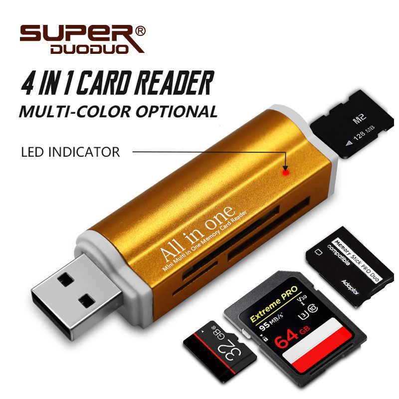 Бесплатная доставка 4 в 1 Micro USB 2,0 кард-ридер usb адаптер для Micro SD карты TF M2 MMC MS PRO DUO кардридер