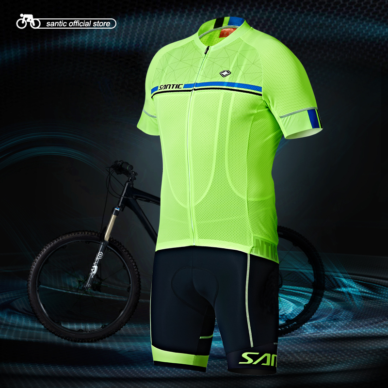 Santic Men Cycling Short Jersey Pro Fit Four Colors Antislip Sleeve Cuff Road Bike MTB Short Sleeve Top Riding Shirt M7C02107 short sleeve lace panel top