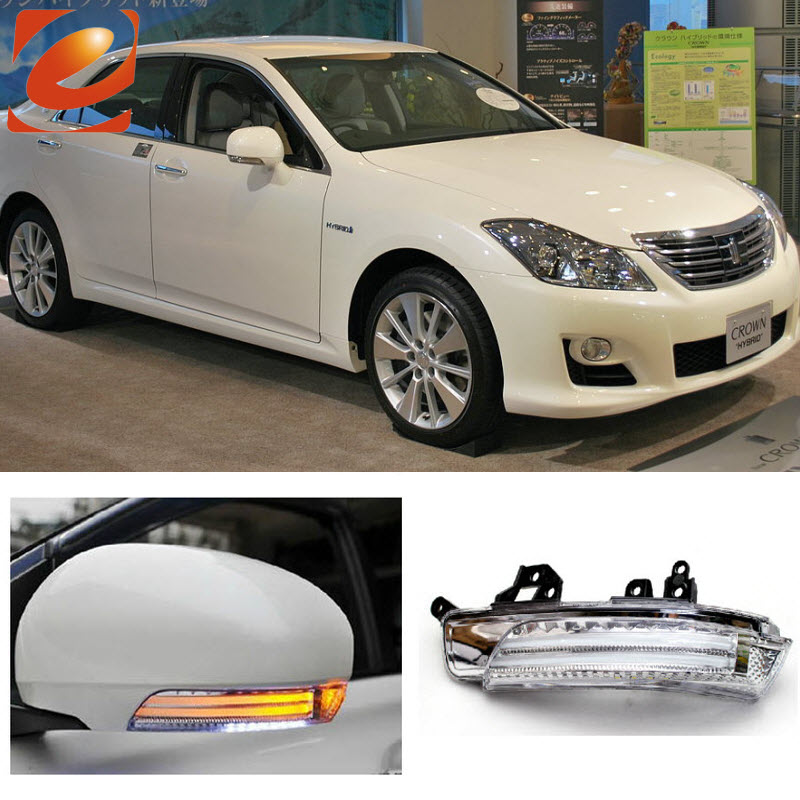 eeMrke For Toyota Crown Majesta S200 2009-2013 Side Rear View Mirror Lights LED DRL Turn Signals Irradiated Ground Lights