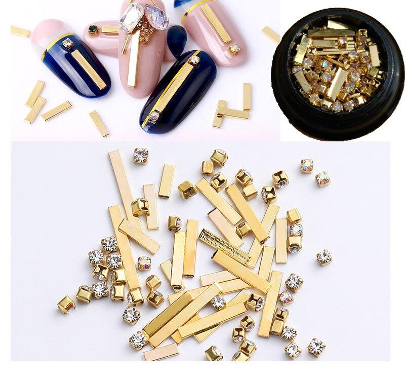 1 Box strass nail art  metal base crystal gemstone/ Gold Metal Nail Stud 3D Decorations Rivets Multi Studs Rhinestone