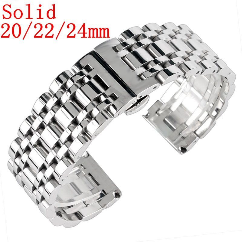 20/22/24mm Solid Link Stainless Steel Silver Bracelet Men High Quality Watch Band Wrist Strap Push Button Hidden Clasp replace 1pc silver stainless steel men wrist watch bracelet strap 16 22mm watchbands with push button buckle clasp men watch accessorie