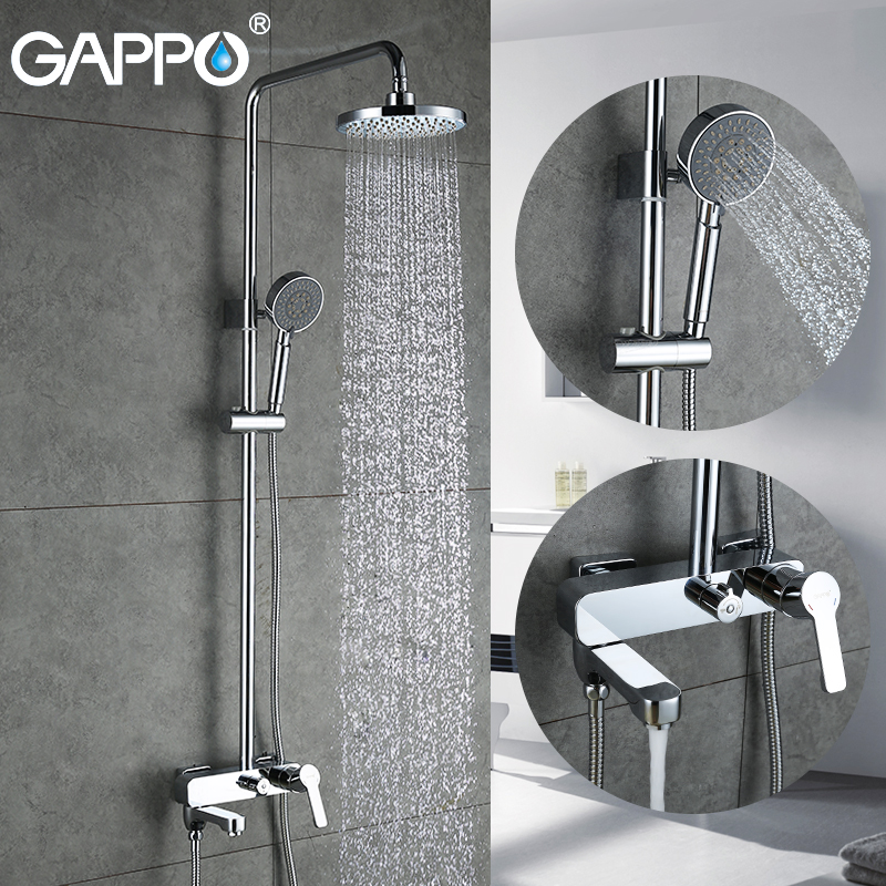 GAPPO Shower Faucet Bathroom Waterfall Shower Faucet Rain Shower Haed Mixer Bathtub Shower System Set colonne de douche