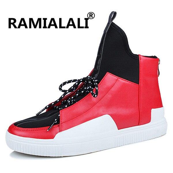 20e52fee01e2 Men Leather Shoes Winter High Top Skull Gold Zipper Design Men Shoes Hip Hop  sneakers Mens kanye west Zapatillas Homme