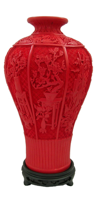 13 inch / Exquisite Chinese Classical Red Cinnabar Lacquer Beautiful Designs Auspicious Vase No.2
