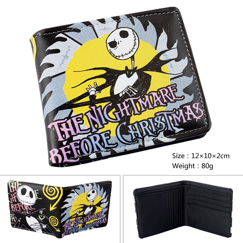 PU Short Wallet/Cartoon Purse Printed with Jack Skellington of The Nightmare Before Christmas the harry potter short wallets jack skellington man purse move wallet doctor who rick and morty cartoon kids cion purse