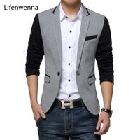 2016 New Slim Fit Mens Casual Jacket Single Button Cotton Blazer Jacket Men Classic Gray Mens