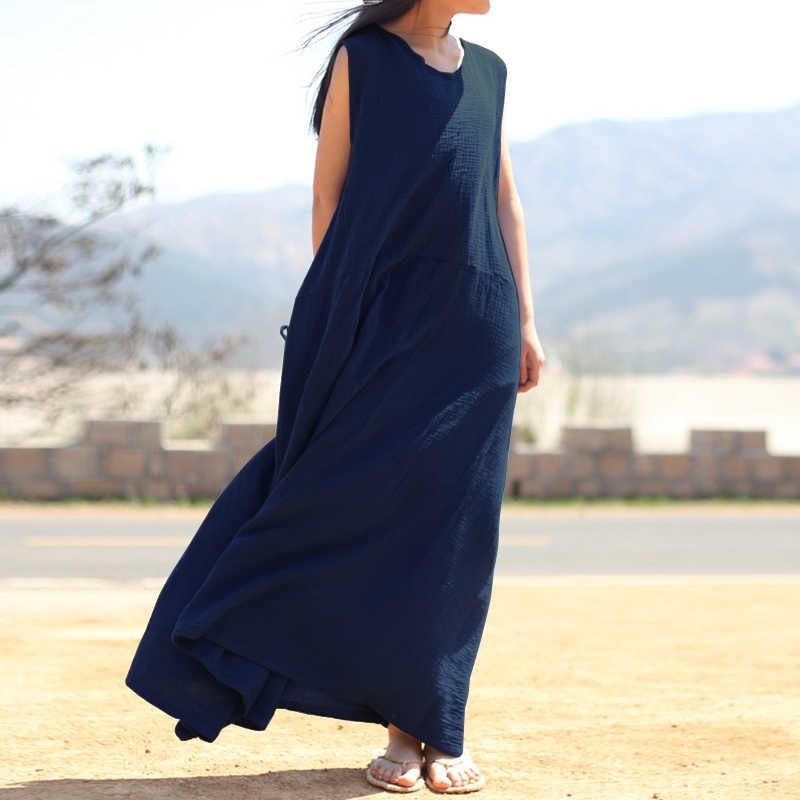 bee5c258b1bd 2018 Summer Dress ZANZEA Women Maxi Dress Casual Loose Vintage Vestido  Sleeveless Long Vestidos Beach Party