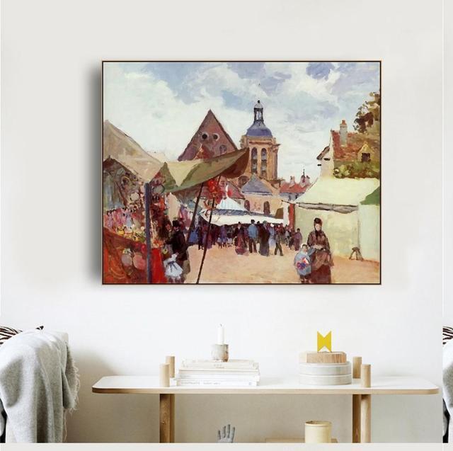 Laeacco toile calligraphie décorative peintures sur le mur photos pour salon affiches et impressions rue marché décor à la maison