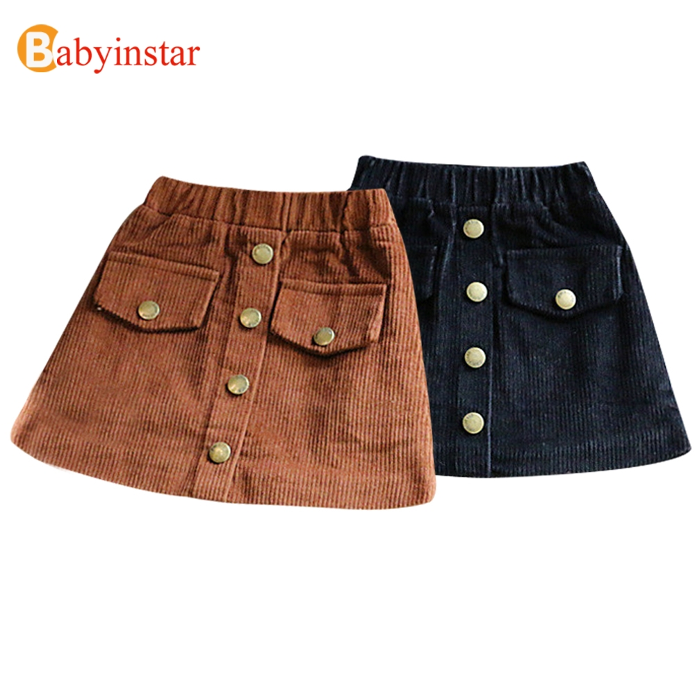 Babyinstar Girls Skirts 2018 New Arrival Brand Children's Clothing Autumn Winter Solid Skirt Outwear Button A-Line Girl Skirt dabuwawa autumn winter new high waist plaid elegant skirt knee length slim fit formal skirt ladies pencil skirts d16csk003