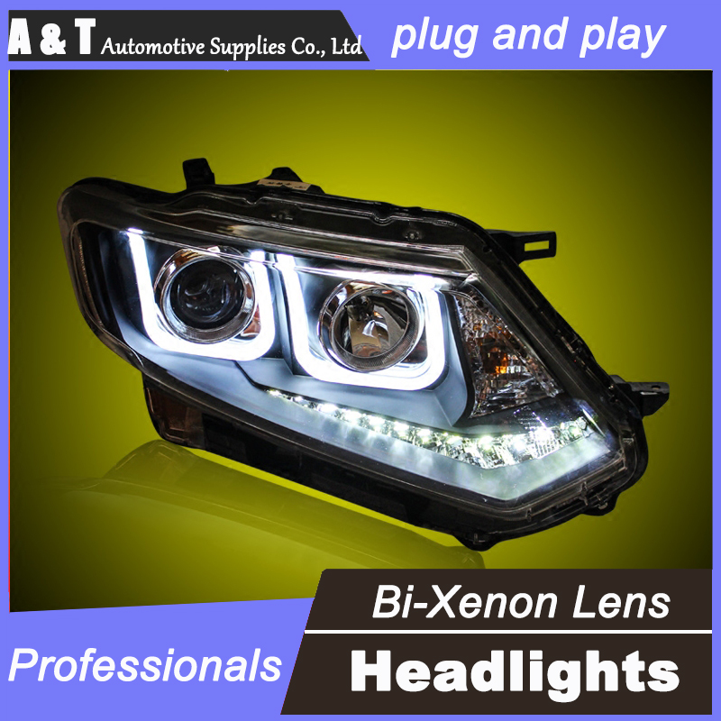 car styling For NISSAN X-Trail headlight assembly angel eyes 14-15 For X-Trail xenon lens h7 with hid kit 2 pcs. gztophid car styling retrofit 2 5 h1 hid wst bixenon projector lens h4 h7 with ccfl angel eyes for car headlight