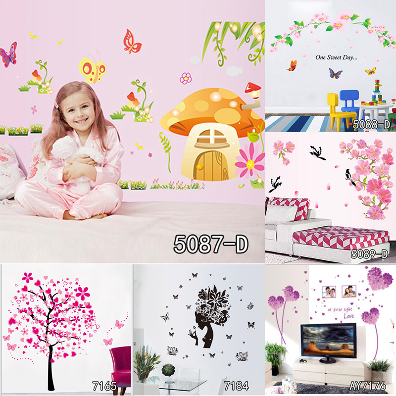 Children Tree Vinyl Removable Decorative Butterfly Wall Stciker For Kids Room Fairy Art Wall Decals Girl Room Home Decor dsu new butterfly flower fairy wall sticker kids room bedroom removable decor art home mural