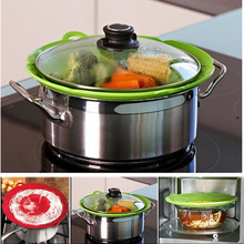 Silicone Boil Over Spill lid Stopper Oven Safe For Pot Pan Cover Red and Green Home Kitchen Cooking Tools Flower Cookware Parts