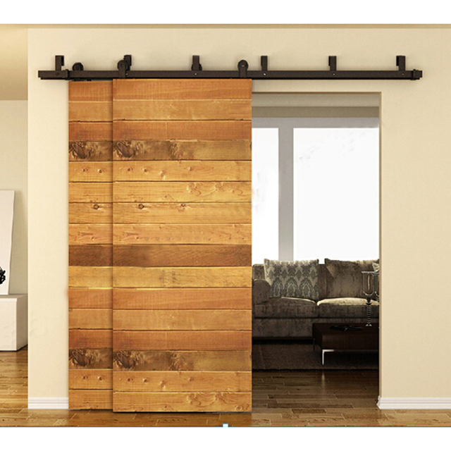 10 16ft grange int rieur porte kits porte coulissante piste rustique bois mat riel en acier. Black Bedroom Furniture Sets. Home Design Ideas