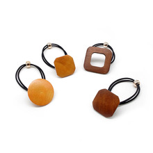 Fashion Simple Hair Ties Geometry Shape Solid Wooden Ponytail Elastic Ropes Rubber Band Scrunchie Accessories