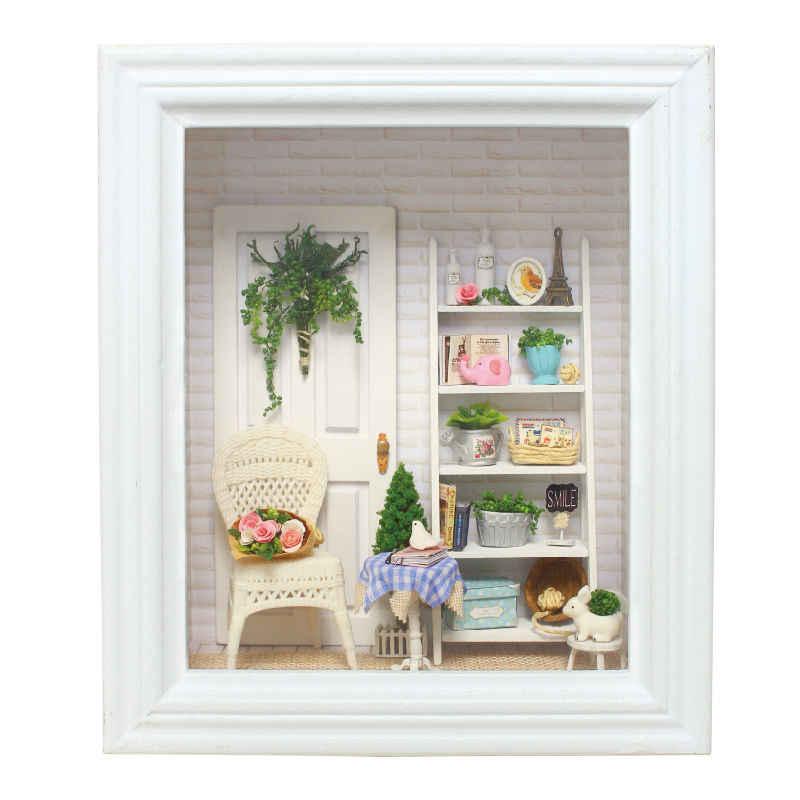 Diy 인형 집 크리 에이 티브 포토 프레임 벽 나무 dollhouses 가구 소형 인형 집 3d puzzlestoys 생일 선물