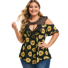 цена на New Plus Size Keyhole Neck Cold Shoulder T-Shirt Sunflower Floral Print Summer Casual Lace Top Female T Shirt Women T-Shirts 5XL