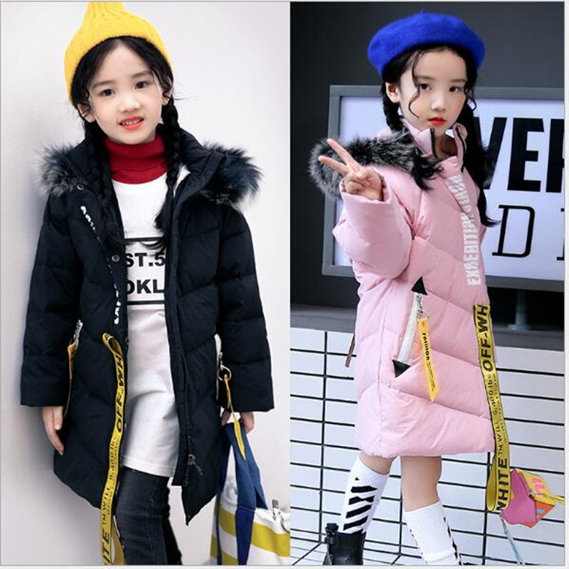 Children's clothing 2017 winter girl's middle child white duck down down jacket children's big fur collar jacket. AN21