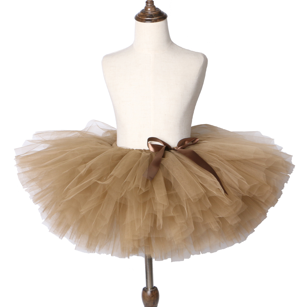 все цены на Brown Baby Girl Skirt Tutu for Kids Princess Birthday Party Ballet Dance Skirt Girls Fluffy Pettiskirt Children Girls Tutu Skirt