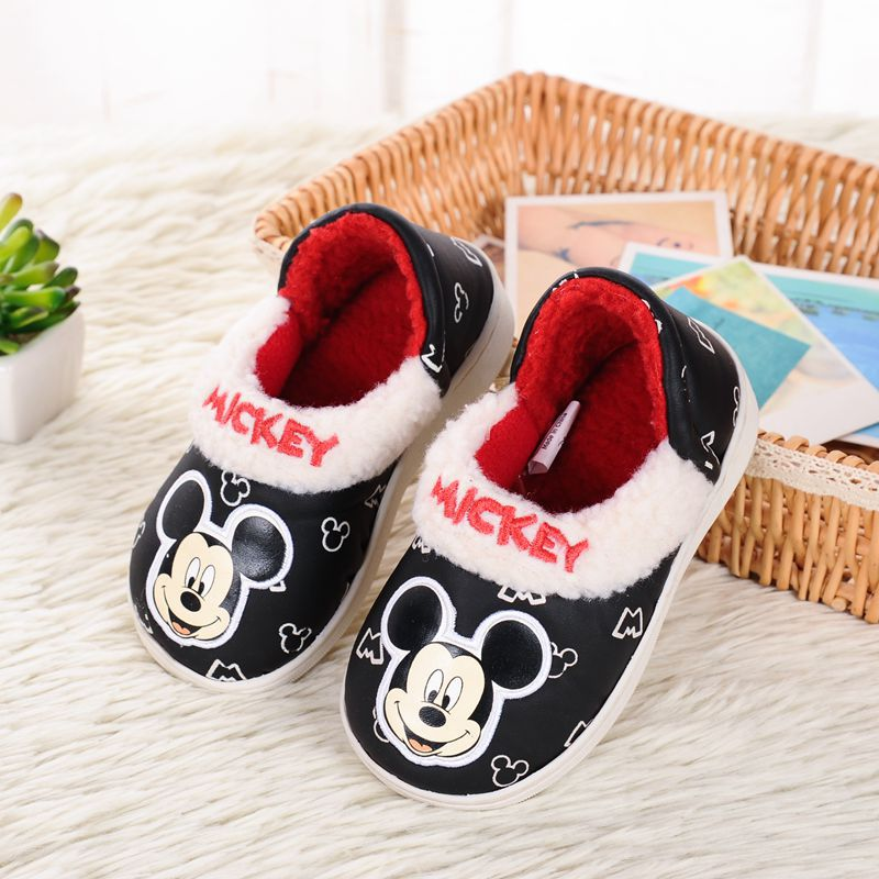 Disney Children Soft Cotton Slippers Autumn And Winter Baby Non-slip Warm Shoes Boys Indoor Home Shoes Cotton Shoes