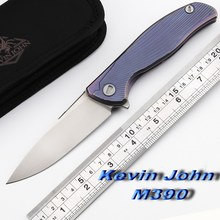Kevin John M390 blade Titanium Icebreaker F95 Flipper folding knife double row ceramic ball camping hunt pocket knife EDC tools