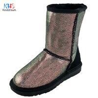 Kindstraum 2017 nieuwe winter kinderen lederen plaid laarzen merk kids thermische pluche party schoenen fashion wear voor meisjes, EJ045