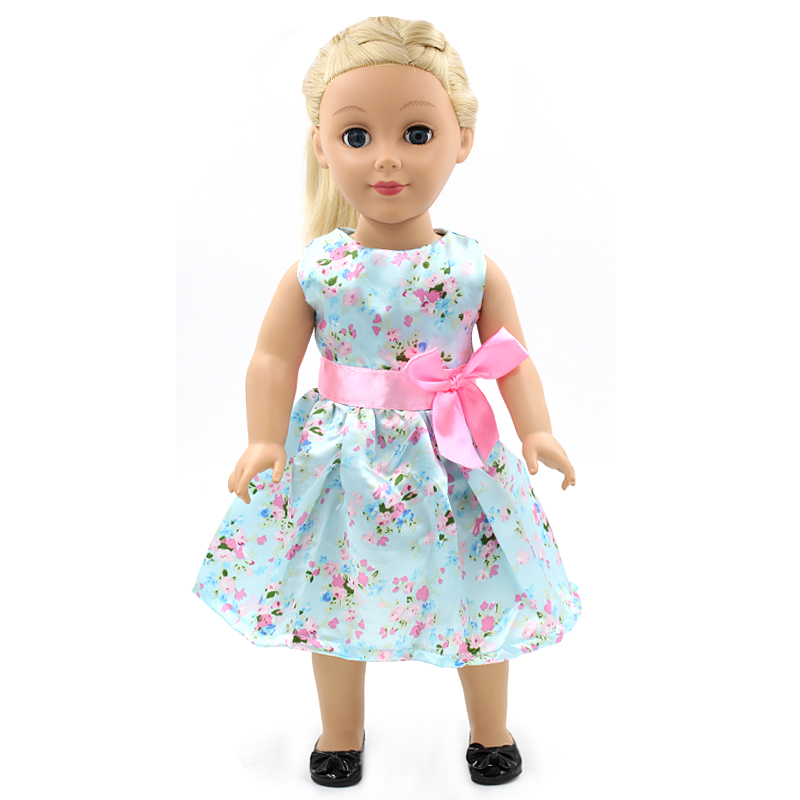 2017 Stock 15 styles Princess Dress Doll Clothes fit 43cm Baby Born Doll Fashion Blue Dress and Accessories for kids MG075