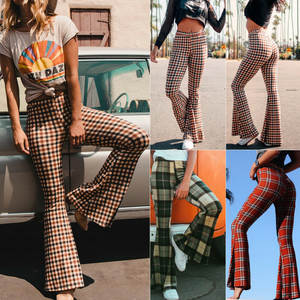 Flare-Pants Stretch Boho Hippie Vintage Long Plaid Women High-Waist Girls