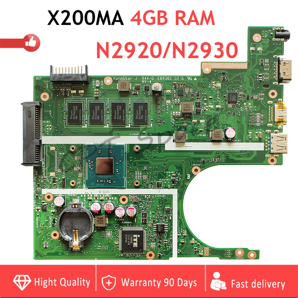 4GB RAM X200MA motherboard REV2 1 CPU N2920 N2930 For ASUS K200MA F200MA X200MA X200M Laptop