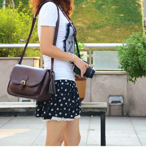 Coffee PU Leather DSLR SLR Camera Case Bag For Nikon Canon Sony Fuji Pentax Olympus Leica