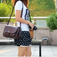 Coffee PU Leather DSLR SLR Camera Case Bag For Nikon Canon Sony Fuji Pentax Olympus Leica Outdoor Bag Photograph Bag