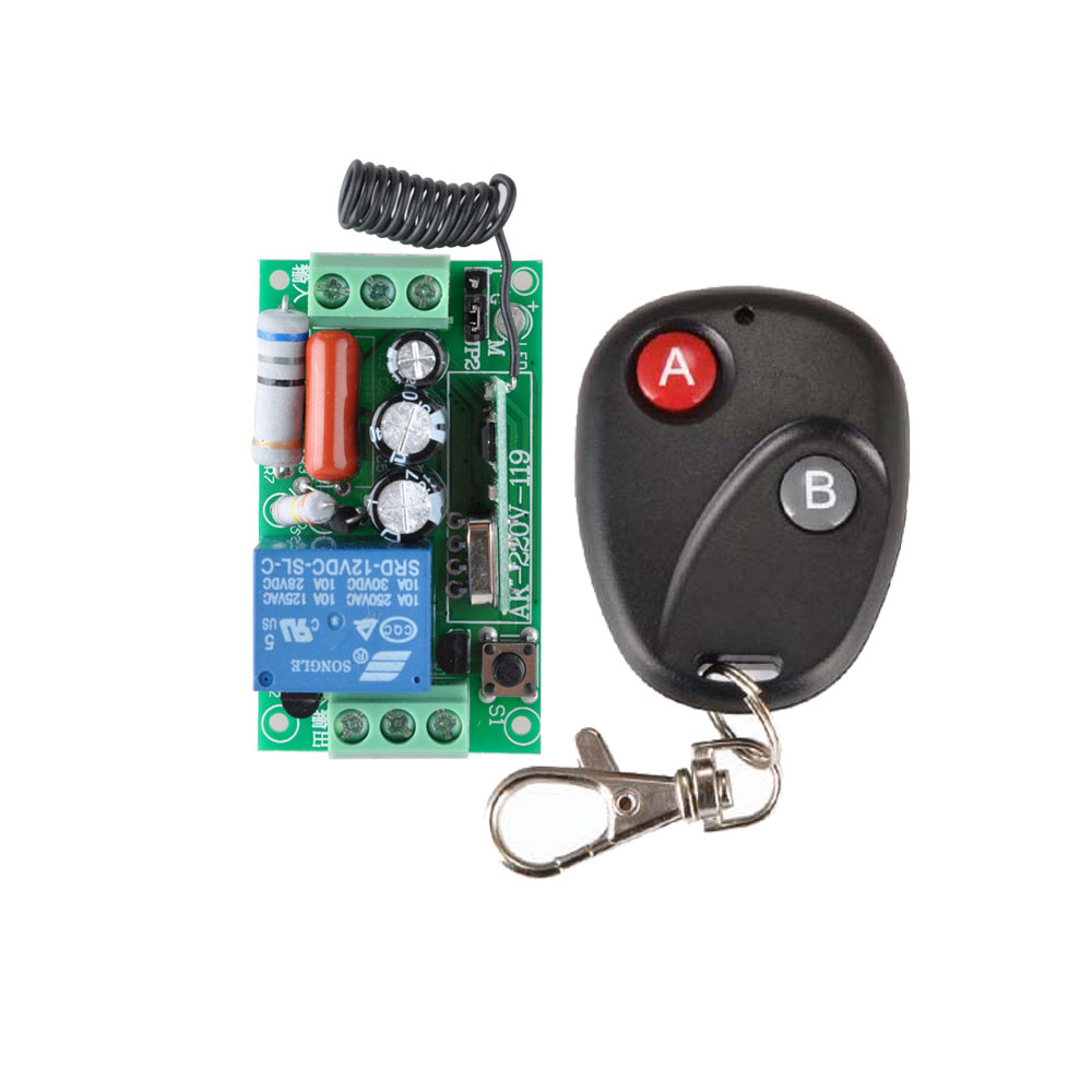 Receiver&Transmitter 220V 1CH 10A RF Wireless Remote Switch Light Lamp LED SMD ON OFF Switch Wireless Momenrary Toggle Latched ac 220v 1ch rf wireless remote switch wireless light lamp led switch 1 mini receiver 4 transmitters on off 315mhz or 433mhz