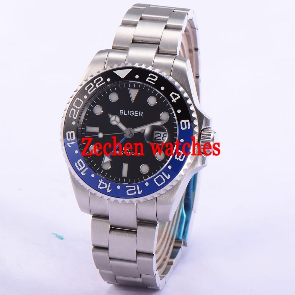 43mm Bliger Date Day Sapphire GMT Automatic Mechanical black dial black blue bezle Luminous Mens Watch цена и фото