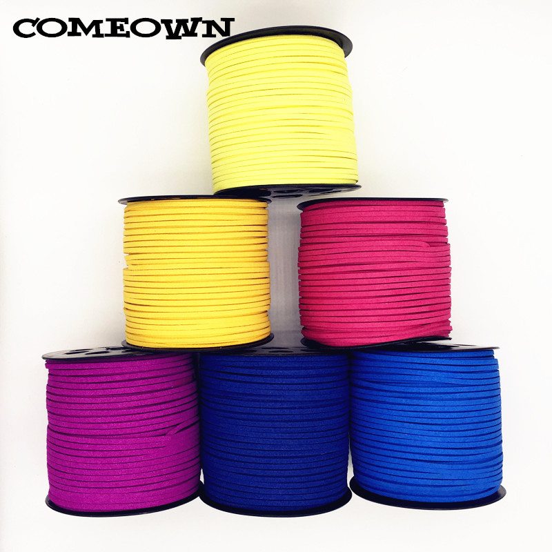 COMEOWN 5m 3x1.5mm Flat Faux Suede Korean Velvet Leather Cord String Rope Lace Thread for DIY Bracelet Necklace Jewelry Findings
