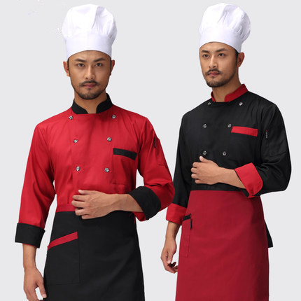 2018 Double-breasted Long-sleeved Chef Service Black Color Hotel Working Wear Restaurant Work Clothes Tooling Uniform Cook Tops