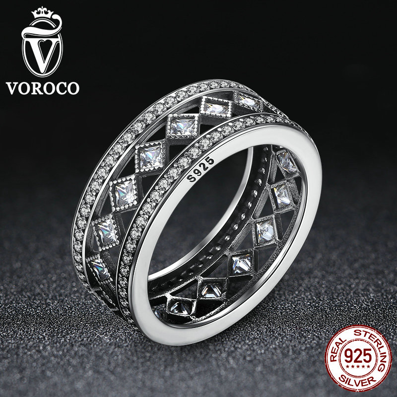 VOROCO 925 Sterling Silver Square Vintage Fascination Clear CZ Big Ring Compatible with VRC Women Luxury