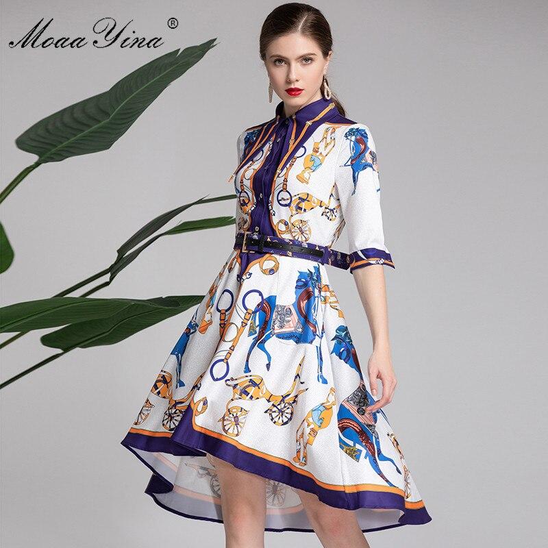 778820d2c288 Cheap MoaaYina Cintura Mezza manica delle Donne di Estate del Vestito Del  Progettista della Pista di